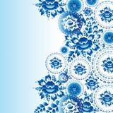 与蓝色花和叶子的葡萄酒破旧的别致的装饰品 Vecto 库存照片