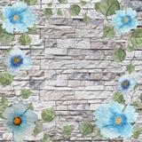 与蓝色花和叶子的风景水彩背景框架 向量例证