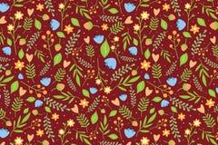 与蓝色花和橙色莓果的花卉样式 免版税库存图片