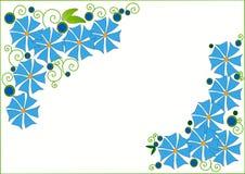与蓝色花的剪贴美术 免版税库存照片