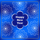 与蓝色花的新年好明信片在中心和透雕细工 免版税库存图片