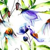 与蓝色花的无缝的墙纸 库存照片