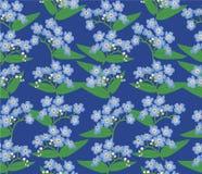 与蓝色花的无缝的背景 图库摄影