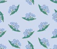 与蓝色花的无缝的背景 免版税库存照片