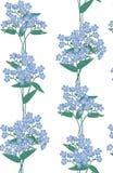 与蓝色花的无缝的背景 免版税图库摄影