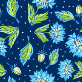 与蓝色花的无缝的花卉样式 免版税库存图片