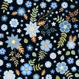 与蓝色花的无缝的ditsy花卉样式在黑背景 织品的时尚印刷品 向量例证