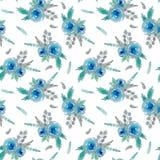 与蓝色花的样式 库存例证