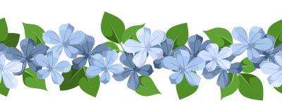 与蓝色花的水平的无缝的背景 免版税库存照片
