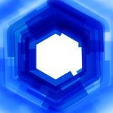 与蓝色被弄脏的六角形的传染媒介背景 图库摄影