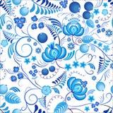 与蓝色装饰花和白色背景的无缝的花卉样式Gzhel 俄国装饰品 免版税库存照片