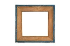 与蓝色边缘的葡萄酒木画框 免版税库存图片