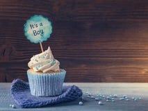 与蓝色采撷的杯形蛋糕 免版税库存照片