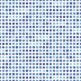与蓝色长方形的水彩无缝的样式 库存照片