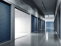 与蓝色门的存贮设施 被开张的门 3d翻译 库存照片