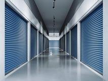 与蓝色门的存贮设施 3d翻译 免版税库存照片
