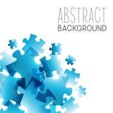 与蓝色难题元素的抽象背景 免版税库存图片