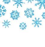 与蓝色雪花的冬天背景新年 向量例证
