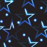 与蓝色霓虹星的无缝的样式 库存照片
