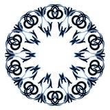 与蓝色颜色的圆装饰品黑色在白色背景 免版税库存照片