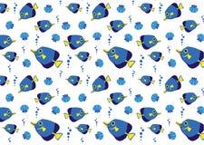 与蓝色鱼的海样式 免版税库存图片