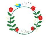 与蓝色鸟唱歌和音乐笔记的红色花圈子 免版税图库摄影