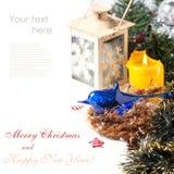 与蓝色鸟的圣诞卡 免版税库存照片