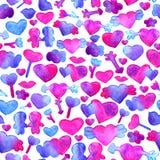 与蓝色,桃红色水彩心脏的无缝的样式 箭头,嘴唇,人浪漫设计 背景查出的白色 向量例证