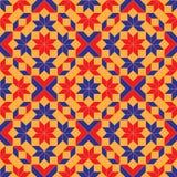 与蓝色,红色和橙色树荫菱形、正方形、三角和星形状的时兴的几何无缝的样式  免版税图库摄影