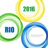与蓝色,黄色和绿色圆环的抽象背景 也corel凹道例证向量 图库摄影
