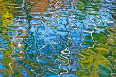 与蓝色,绿色和黄色颜色的抽象水反射 免版税图库摄影