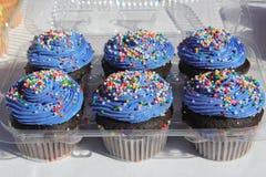 与蓝色结冰的杯形蛋糕 免版税图库摄影