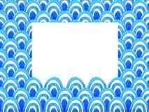 与蓝色水彩波浪的抽象几何样式 背景峡湾光芒海运星期日 库存例证