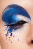 与蓝色幻想的闭合的眼睛组成 免版税图库摄影