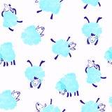 与蓝色绵羊的无缝的样式 免版税库存照片