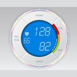与蓝色lcd的血压显示器 免版税库存图片