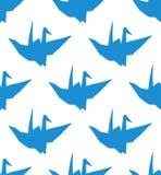 与蓝色origami的简单的无缝的样式 皇族释放例证