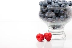 与蓝莓碗的两个莓 库存照片