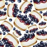 与蓝莓蛋糕的样式 库存例证