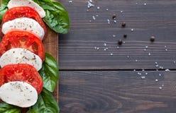 与蓬蒿叶子的蕃茄和无盐干酪切片 免版税图库摄影