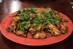 与蓬蒿圆盘的台湾鸡 免版税库存照片