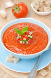 与蓬蒿的冷的蕃茄汤gazpacho在碗顶视图 免版税库存图片