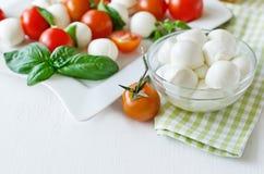 与蓬蒿,蕃茄和芳香抚人的无盐干酪球, caprese 库存图片