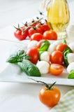 与蓬蒿,蕃茄和芳香抚人的无盐干酪球, caprese 库存照片