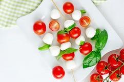 与蓬蒿,蕃茄和芳香抚人的无盐干酪球, caprese 免版税库存图片
