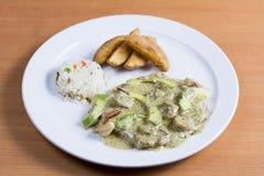 与蓬蒿,鲕梨虾,被调味的大虾的鸡 免版税库存图片
