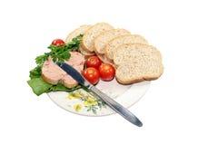 与蔬菜的切的面包 免版税图库摄影