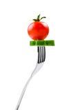 与蔬菜的叉子 免版税库存图片