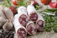 与蔬菜的在木材的蒜味咸腊肠和香料上 免版税库存图片