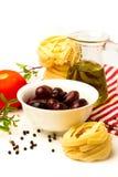 与蔬菜的意大利意大利面食 图库摄影